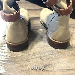 Frye Shirley Strappy Short Tan Suede Leather Low Heel Boots Size 10