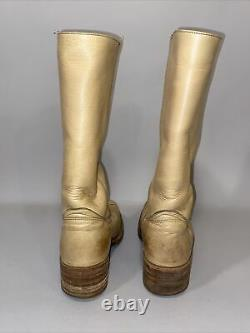 Frye Tall Boots 8 D Wide Pullon Women 2958 Campus Tan Distressed Leather Vintage