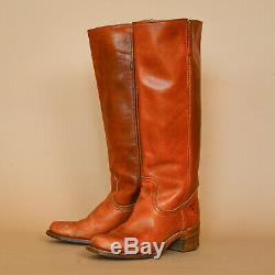 Frye Tan Brown Leather Cowboy Boots Vintage Made In USA Women's UK 6 EUR 39 US 8