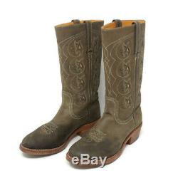 Frye Womens Size 9 Boots Flowers Stitching Made In USA Leather Cowboys Tan