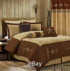 Full Queen Cal King Brown Tan Cowboy Star Western Faux Suede 7 pc Comforter Set