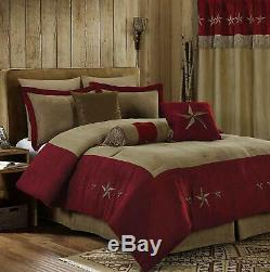 Full Queen Cal King Burgundy Red Tan Cowboy Stars Faux Suede 7 pc Comforter Set