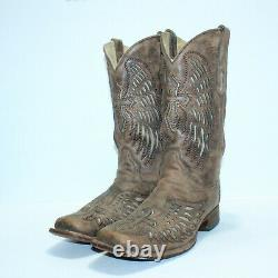 GORGEOUS VTG Corral Mens Tan Brown Wing & Cross Inlay Toe Cowboy Boots Size 11 D