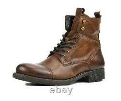Genuine Leather Lace-Up Motorcycle Boots for Men, Men's Work Boots, Casual Boots