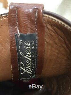Gorgeous Lucchese Full Quill Ostrich Boots Brown Tan Mens Size 12 D