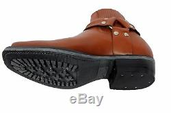 Grinders Renegade Lo Tan Unisex Leather Boot Cowboy Western Biker Ankle Boots