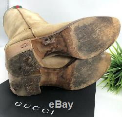 Gucci Authentic Vintage GG Logo Western Cowboy Style Boots Tan Suede 7.5 US 7