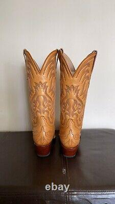 Heritage Boot Company tan leather cowboy boots handmade 7.5