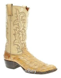 JUSTIN Cowboy Boots 10.5 AA Mens Exotic Print LEATHER Tan WESTERN Rodeo USA VTG