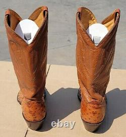 J. CHISHOLM EXOTIC Tan Quill Ostrich Skin Cowboy Boots 11D