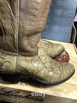 Justin BOOTS SIZE 8D Tan Leather Cowboy MENS VINTAGE HARD TO FIND NOW