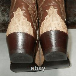 Justin Boots 8564 tan taupe brown exotic leather triad boots 11 D cowboy western
