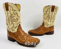 Justin Boots Tan Ostrich Cowboy Western Square Toe Boots SIze 9 1/2 D