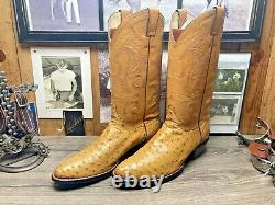 Justin Exotic Tan Full Quill Ostrich 10d Mens Cowboy Boots Excellent Condition
