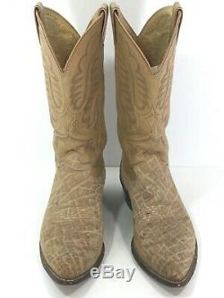 Justin Mens Elephant/Tooled Leather Vintage Cowboy Boots Sz 8.5 D Tan Made USA