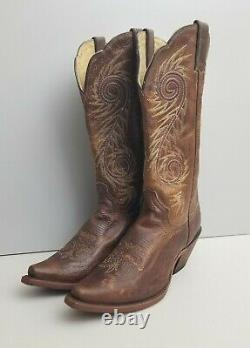 Justin Tan Damiana Leather Cowboy Boots Womens Size 8.5 New