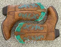 Justin Women's Sevana Tan Cowgirl Boots Square Toe Womens Cowboy Boots Size 8.5
