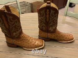 Justin full quill ostrich boots, size 9.5D, tan