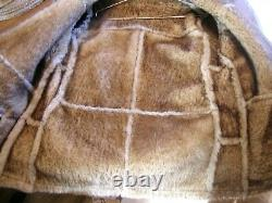 Knight Tailors Shearling Sheepskin Tan Brown Jacket Coat Mens Size 42, Excellent