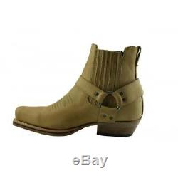 LOBLAN 515 Tan Beige Cowboy Biker Western Square Toe Ankle Classic Leather Boots