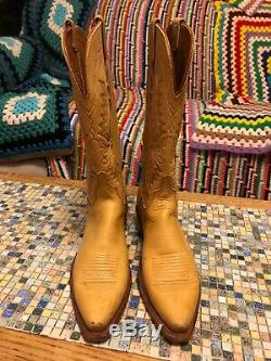 LUCCHESE 1883 Leather Yellow Tan Western Cowboy Boots 8.5 D