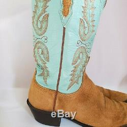 LUCCHESE 1883 Tan Suede Teal Leather Cowboy Western Boots Women's Size 9.5 US