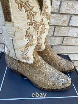 LUCCHESE CLASSICS TAN SHAVED STINGRAY COWBOY WESTERN BOOTS 11.5 EEE (wide)
