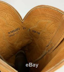 LUCCHESE Cowboy Western Boots Rough Out Suede Leather Tan Men US Size 11 D Rare