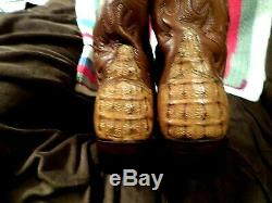 LUCCHESE MEN PREOWN TOP QUALITY ALLIGATOR & LEATHER WESTERN BOOTS-TAN-sz 8.5 D
