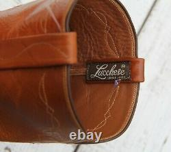LUCCHESE Men's Size 10 Exotic Brown Tan Ostrich Leather Western Cowboy Boots