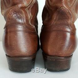 LUCCHESE Men's Tan Brown Leather Cowboy Boots- Extra Wide- Size 11EE