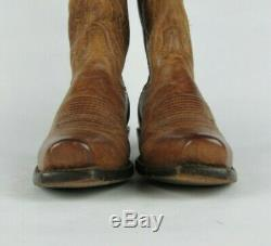 LUCCHESE Mens 7 D Mad Dog Goatskin Leather Tan Cowboy Western Boots