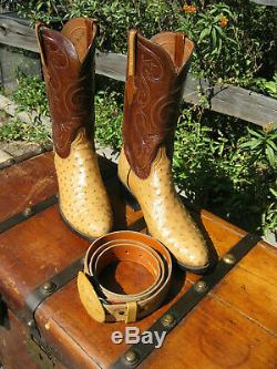 LUCCHESE OSTRICH Saddle Tan COWBOY BOOTS 11 B