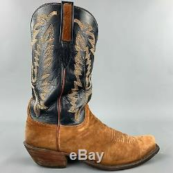 LUCCHESE Size 11 Tan & Navy Embroidery Suede Cowboy Boots