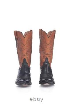 LUCCHESE Tan Brown Buffalo Leather Cowboy Boots 8 Women's Western Pointed Black