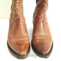 LUCCHESE Tan & Brown Leather Handmade Western Snip Toe Cowboy Boots Womens 8.5 M