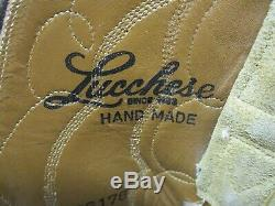 LUCCHESE Tan Suede All Leather Cowboy Western Boots Mens Size 12 D Style 266178