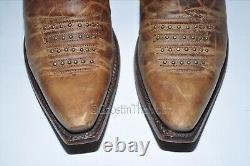 LUCCHESE Western Cowboy Boots Womens Size 6 Tan & Red Studded