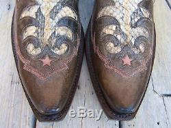 LUCCHESE Womens Cowboy Western Boot Fancy Tan Brown Snakeskin Riding Size 8.5B