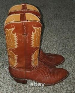 LUCCHESE men's lizard cowboy boots tan/brown size 13D, Made In USA excellent