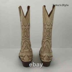 LUCHESSE Ivory Tan Leather Shoe Size 9 Cowboy Boots