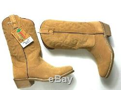 Laredo Men Drew Western Cowboy Boots Suede Leather Embroidery Cushioned Tan 10.5