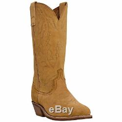 Laredo Mens Drew Western Cowboy Boots Suede Leather Embroidery Cushioned Tan