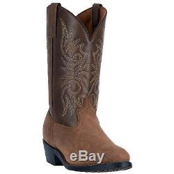 Laredo Mens Western Cowboy Boots Distressed Leather Embroidery Round Toe Tan