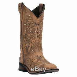 Laredo Womens Janie Western Cowboy Boots Stitched Leather Studs Square Toe Brown