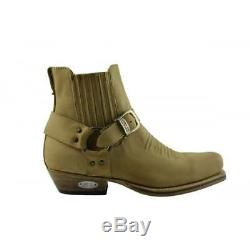 Loblan 515 Leather Tan Beige Cowboy Boots Biker Western Square Toe Ankle Boot