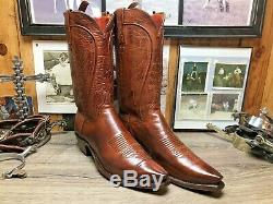 Lucchese 1883 9.5d Tan Snip Toe Burnished Ranch Hand Calf Mens Cowboy Boots