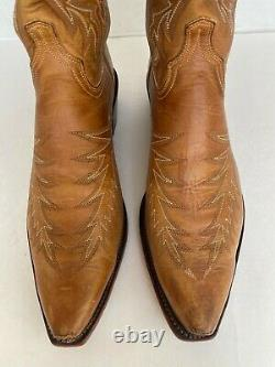 Lucchese 1883 Embroidered Tan Snip Toe Western Boots, Size 12D