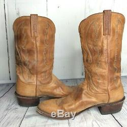 Lucchese 1883 Men's Cowboy Western Boots Tan Leather N1505 R4 Worn Size 13D