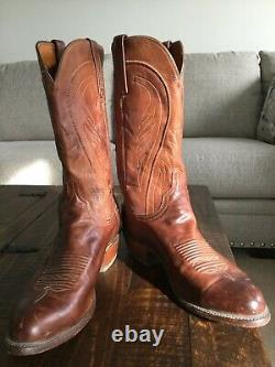 Lucchese 1883 Mens Bart Cowboy Boots N1596. R4, Tan, Size 10.5 EE